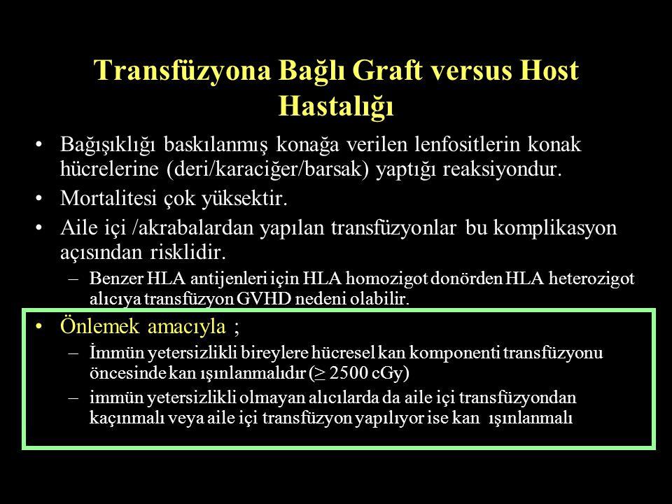 Transfüzyona Bağlı Graft versus Host Hastalığı Bağışıklığı baskılanmış konağa verilen lenfositlerin konak hücrelerine (deri/karaciğer/barsak) yaptığı