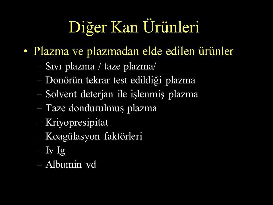 Diğer Kan Ürünleri Plazma ve plazmadan elde edilen ürünler –Sıvı plazma / taze plazma/ –Donörün tekrar test edildiği plazma –Solvent deterjan ile işle