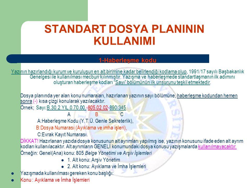 STANDART DOSYA PLANININ KULLANIMI 1-Haberleşme kodu Yazının hazırlandığı kurum ve kuruluşun en alt birimine kadar belirlendiği kodlama olup, 1991/17 s