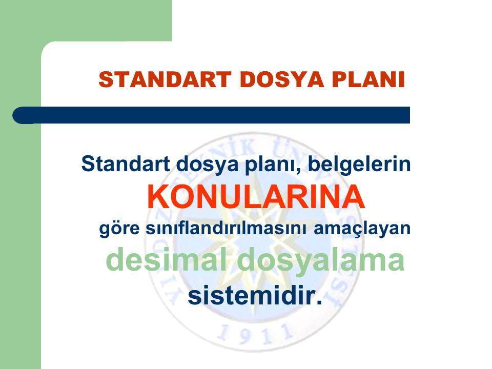 STANDART DOSYA PLANI Standart Dosya Planı'nda, onlu bölünme kuralına uyulmamış, 1.