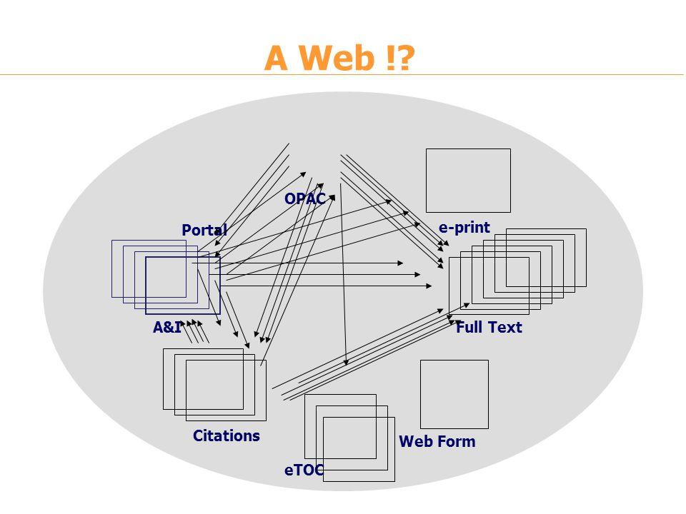 A&I e-print Full Text Portal Citations Web Form eTOC OPAC A Web !