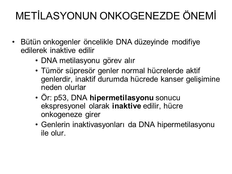 METİLASYONUN ONKOGENEZDE ÖNEMİ Bütün onkogenler öncelikle DNA düzeyinde modifiye edilerek inaktive edilir DNA metilasyonu görev alır Tümör süpresör genler normal hücrelerde aktif genlerdir, inaktif durumda hücrede kanser gelişimine neden olurlar Ör: p53, DNA hipermetilasyonu sonucu ekspresyonel olarak inaktive edilir, hücre onkogeneze girer Genlerin inaktivasyonları da DNA hipermetilasyonu ile olur.