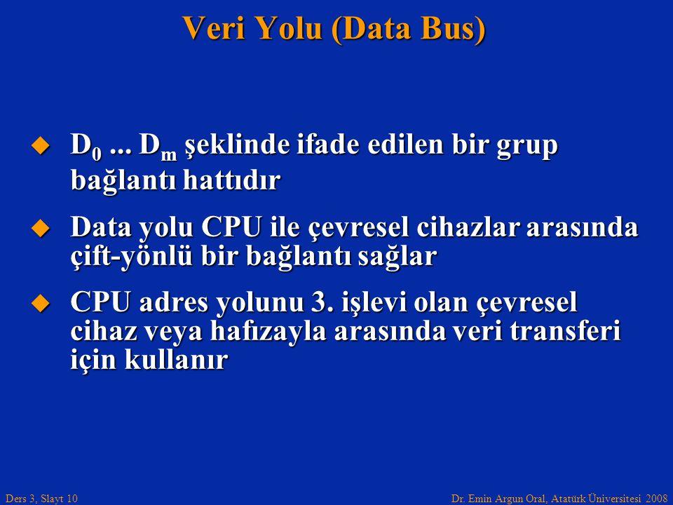 Dr. Emin Argun Oral, Atatürk Üniversitesi 2008 Ders 3, Slayt 10  D 0... D m şeklinde ifade edilen bir grup bağlantı hattıdır  Data yolu CPU ile çevr
