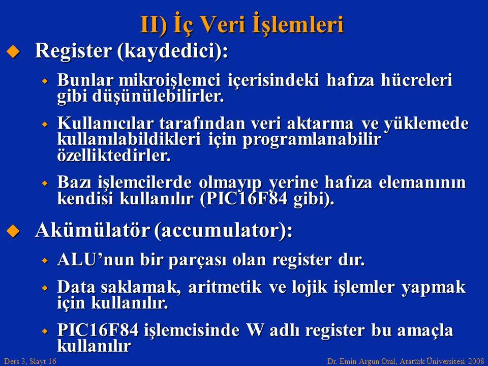 Dr. Emin Argun Oral, Atatürk Üniversitesi 2008 Ders 3, Slayt 16  Register (kaydedici):  Bunlar mikroişlemci içerisindeki hafıza hücreleri gibi düşün