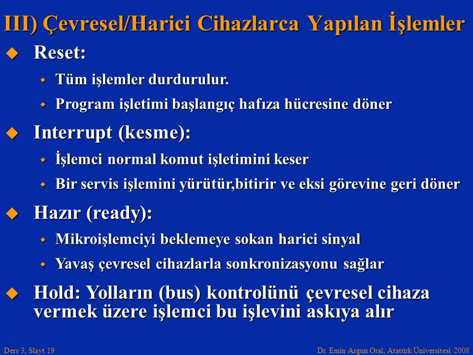Dr. Emin Argun Oral, Atatürk Üniversitesi 2008 Ders 3, Slayt 19  Reset:  Tüm işlemler durdurulur.  Program işletimi başlangıç hafıza hücresine döne