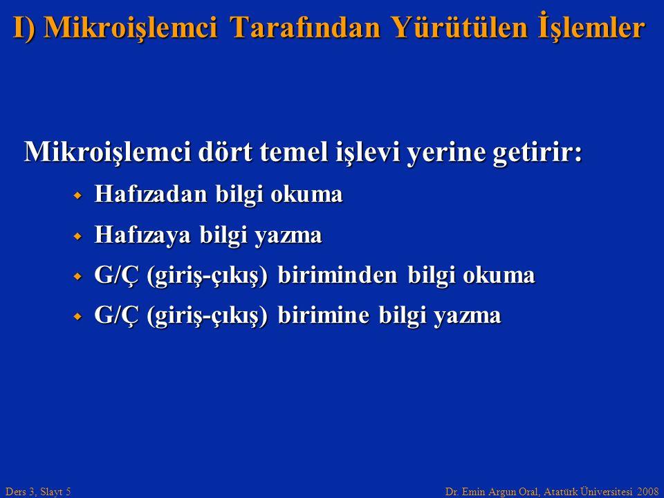 Dr. Emin Argun Oral, Atatürk Üniversitesi 2008 Ders 3, Slayt 5 Mikroişlemci dört temel işlevi yerine getirir:  Hafızadan bilgi okuma  Hafızaya bilgi