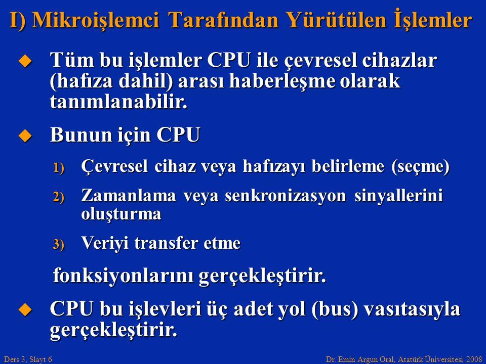 Dr. Emin Argun Oral, Atatürk Üniversitesi 2008 Ders 3, Slayt 6  Tüm bu işlemler CPU ile çevresel cihazlar (hafıza dahil) arası haberleşme olarak tanı