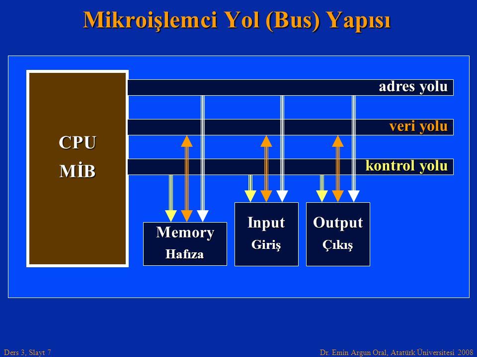 Dr. Emin Argun Oral, Atatürk Üniversitesi 2008 Ders 3, Slayt 7 Mikroişlemci Yol (Bus) Yapısı InputGiriş CPU MİB MemoryHafıza veri yolu adres yolu kont