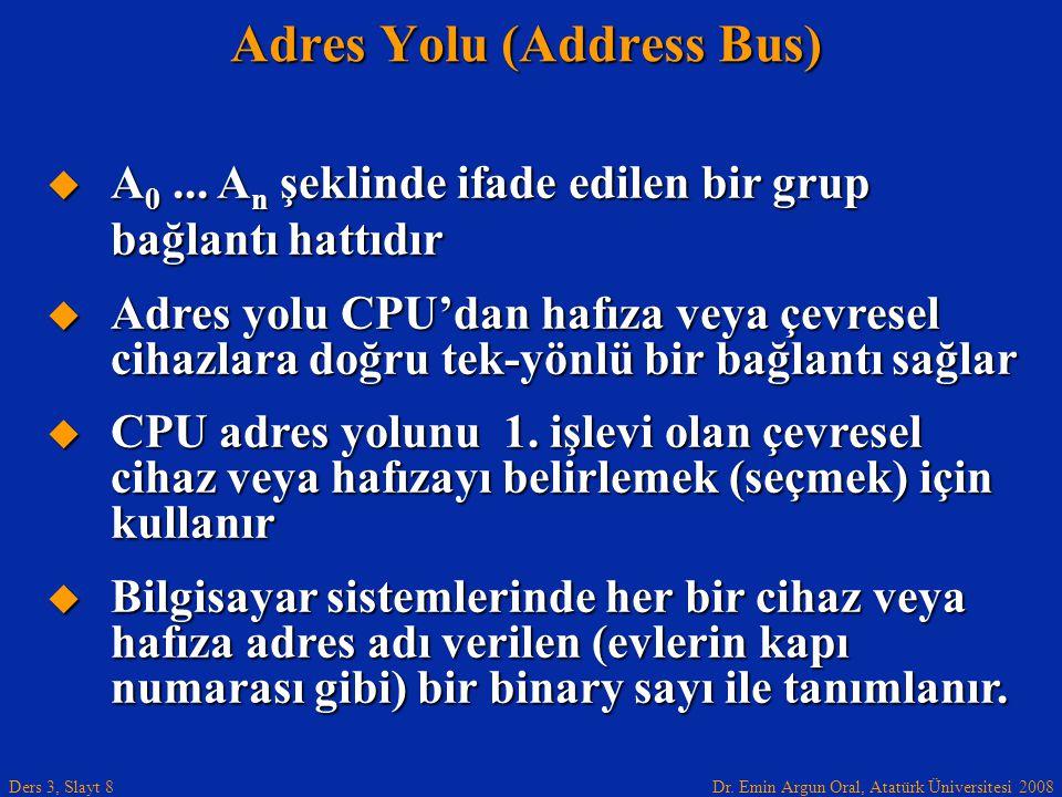 Dr. Emin Argun Oral, Atatürk Üniversitesi 2008 Ders 3, Slayt 8  A 0... A n şeklinde ifade edilen bir grup bağlantı hattıdır  Adres yolu CPU'dan hafı
