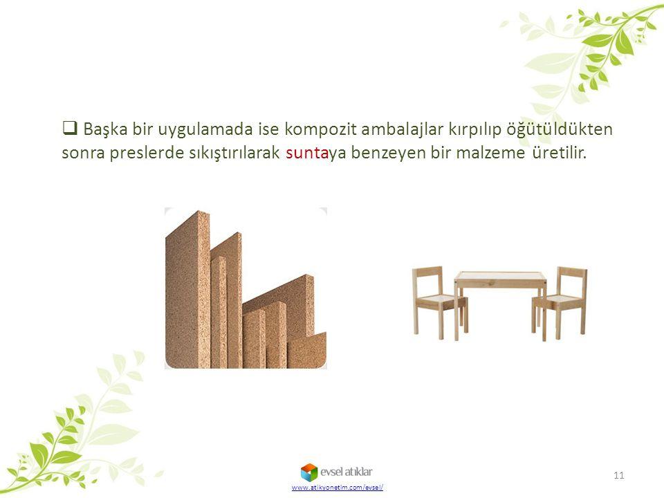  Başka bir uygulamada ise kompozit ambalajlar kırpılıp öğütüldükten sonra preslerde sıkıştırılarak suntaya benzeyen bir malzeme üretilir. 11 www.atik