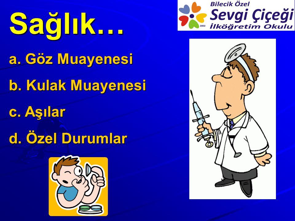 Sağlık… a. Göz Muayenesi b. Kulak Muayenesi c. Aşılar d. Özel Durumlar