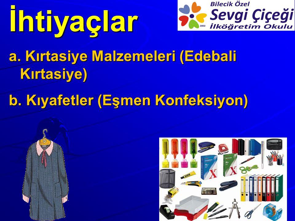İhtiyaçlar a. Kırtasiye Malzemeleri (Edebali Kırtasiye) b. Kıyafetler (Eşmen Konfeksiyon)