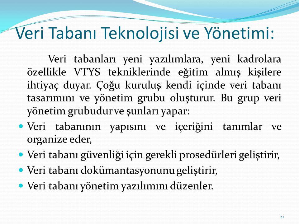 Veri Tabanı Teknolojisi ve Yönetimi: Veri tabanları yeni yazılımlara, yeni kadrolara özellikle VTYS tekniklerinde eğitim almış kişilere ihtiyaç duyar.