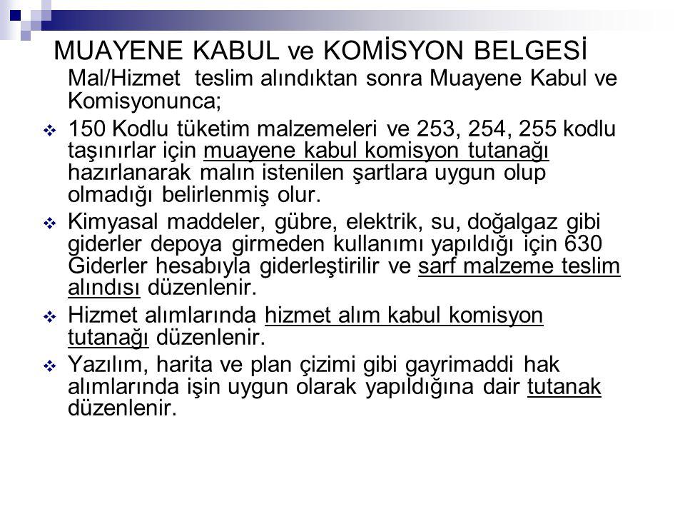 MUAYENE KABUL ve KOMİSYON BELGESİ Mal/Hizmet teslim alındıktan sonra Muayene Kabul ve Komisyonunca;  150 Kodlu tüketim malzemeleri ve 253, 254, 255 k