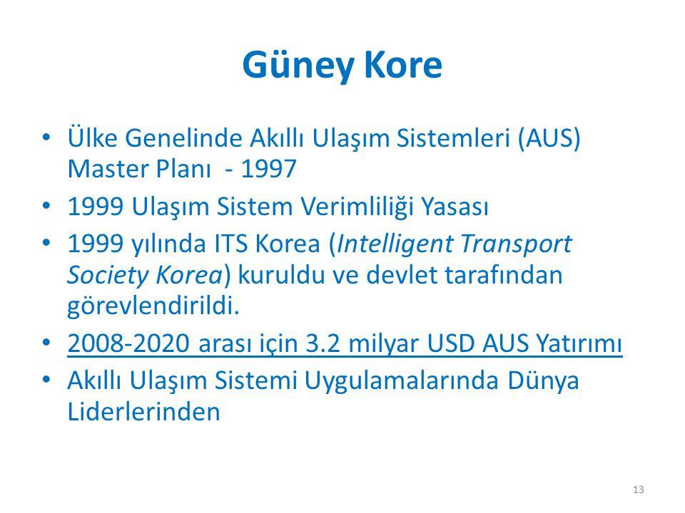 Güney Kore Ülke Genelinde Akıllı Ulaşım Sistemleri (AUS) Master Planı - 1997 1999 Ulaşım Sistem Verimliliği Yasası 1999 yılında ITS Korea (Intelligent