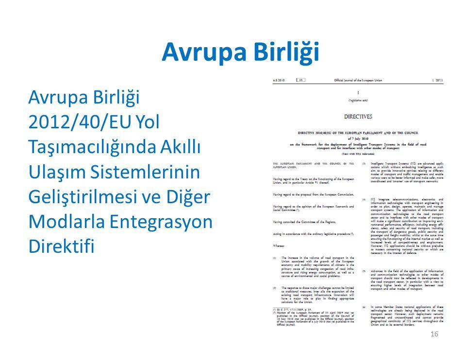 Avrupa Birliği 2012/40/EU Yol Taşımacılığında Akıllı Ulaşım Sistemlerinin Geliştirilmesi ve Diğer Modlarla Entegrasyon Direktifi Avrupa Birliği 16