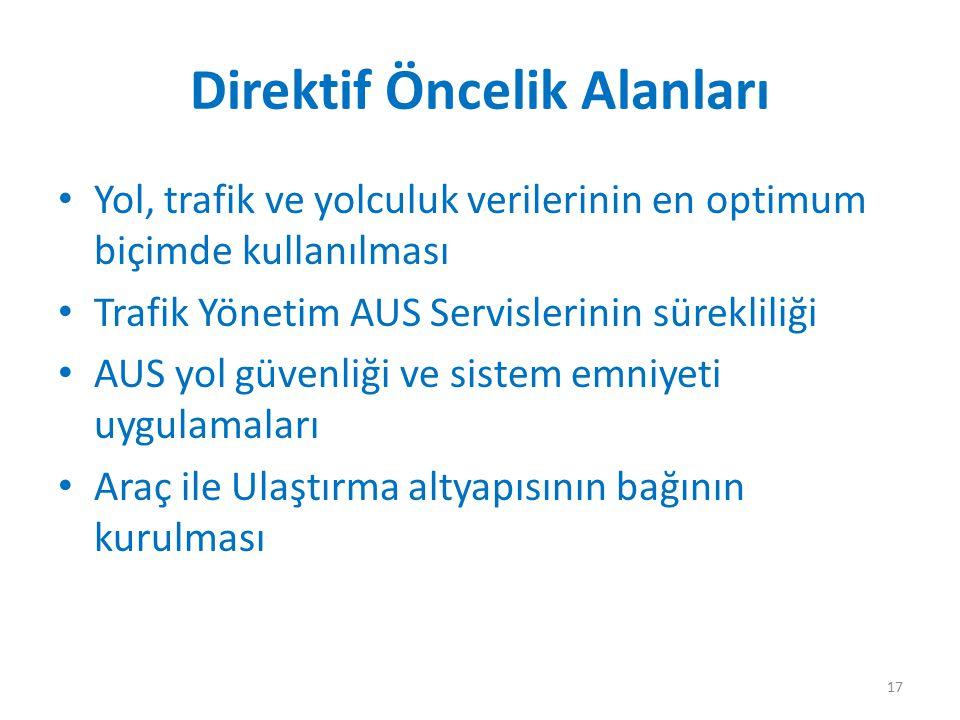Direktif Öncelik Alanları Yol, trafik ve yolculuk verilerinin en optimum biçimde kullanılması Trafik Yönetim AUS Servislerinin sürekliliği AUS yol güv