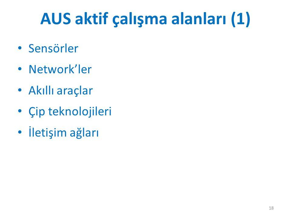 AUS aktif çalışma alanları (1) Sensörler Network'ler Akıllı araçlar Çip teknolojileri İletişim ağları 18