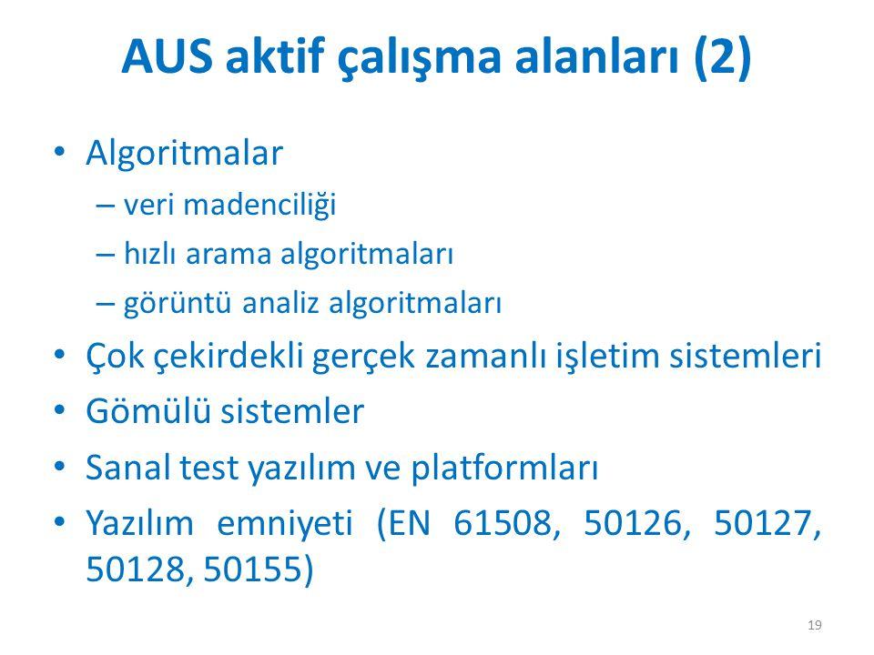 AUS aktif çalışma alanları (2) Algoritmalar – veri madenciliği – hızlı arama algoritmaları – görüntü analiz algoritmaları Çok çekirdekli gerçek zamanl