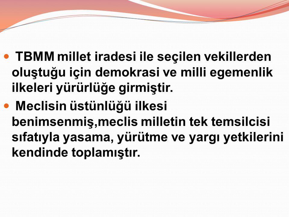 TBMM millet iradesi ile seçilen vekillerden oluştuğu için demokrasi ve milli egemenlik ilkeleri yürürlüğe girmiştir. Meclisin üstünlüğü ilkesi benimse