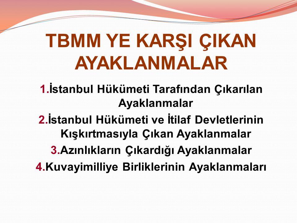TBMM YE KARŞI ÇIKAN AYAKLANMALAR 1.İstanbul Hükümeti Tarafından Çıkarılan Ayaklanmalar 2.İstanbul Hükümeti ve İtilaf Devletlerinin Kışkırtmasıyla Çıka