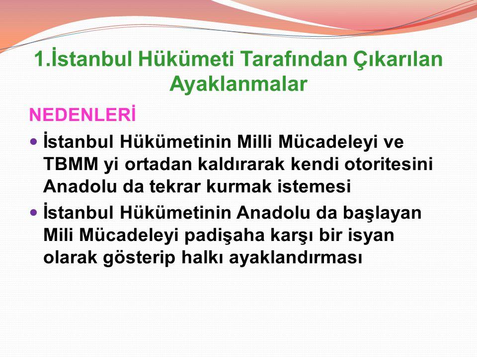 1.İstanbul Hükümeti Tarafından Çıkarılan Ayaklanmalar NEDENLERİ İstanbul Hükümetinin Milli Mücadeleyi ve TBMM yi ortadan kaldırarak kendi otoritesini