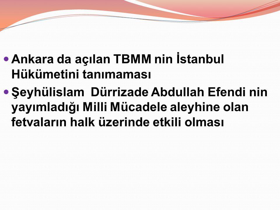 Ankara da açılan TBMM nin İstanbul Hükümetini tanımaması Şeyhülislam Dürrizade Abdullah Efendi nin yayımladığı Milli Mücadele aleyhine olan fetvaların