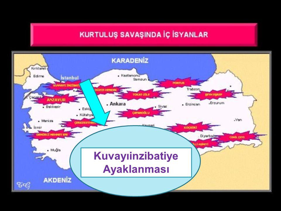 2.İstanbul Hükümeti ve İtilaf Devletlerinin Kışkırtmasıyla Çıkan Ayaklanmalar NEDENLERİ İtilaf devletlerinin Milli Mücadeleyi yok ederek Anadolu yu paylaşma planlarını uygulamak istemeleri