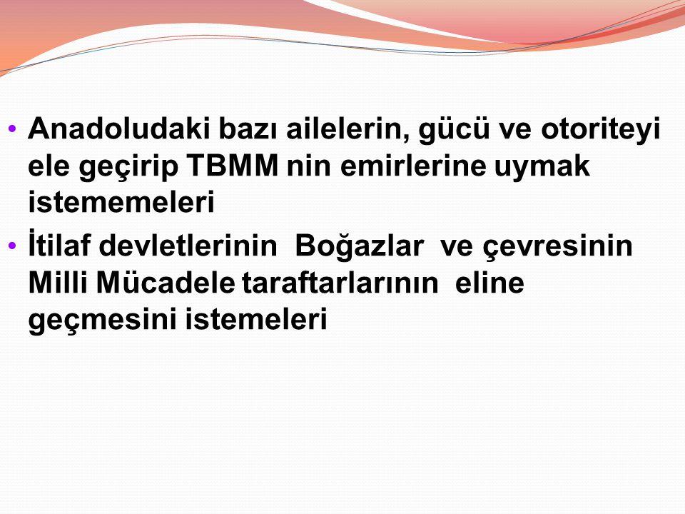 Anadoludaki bazı ailelerin, gücü ve otoriteyi ele geçirip TBMM nin emirlerine uymak istememeleri İtilaf devletlerinin Boğazlar ve çevresinin Milli Müc