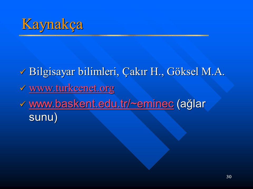 30 Kaynakça Bilgisayar bilimleri, Çakır H., Göksel M.A. Bilgisayar bilimleri, Çakır H., Göksel M.A. www.turkcenet.org www.turkcenet.org www.turkcenet.