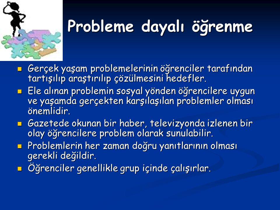 Probleme dayalı öğrenme Probleme dayalı öğrenme Gerçek yaşam problemelerinin öğrenciler tarafından tartışılıp araştırılıp çözülmesini hedefler. Gerçek