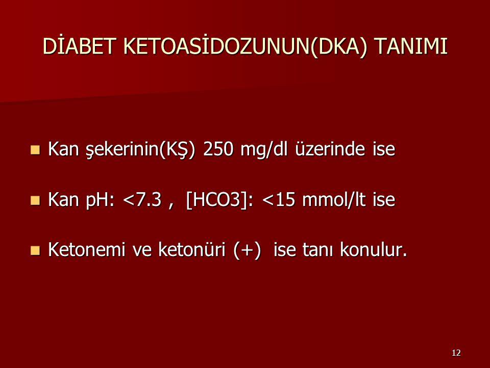 12 DİABET KETOASİDOZUNUN(DKA) TANIMI Kan şekerinin(KŞ) 250 mg/dl üzerinde ise Kan şekerinin(KŞ) 250 mg/dl üzerinde ise Kan pH: <7.3, [HCO3]: <15 mmol/lt ise Kan pH: <7.3, [HCO3]: <15 mmol/lt ise Ketonemi ve ketonüri (+) ise tanı konulur.