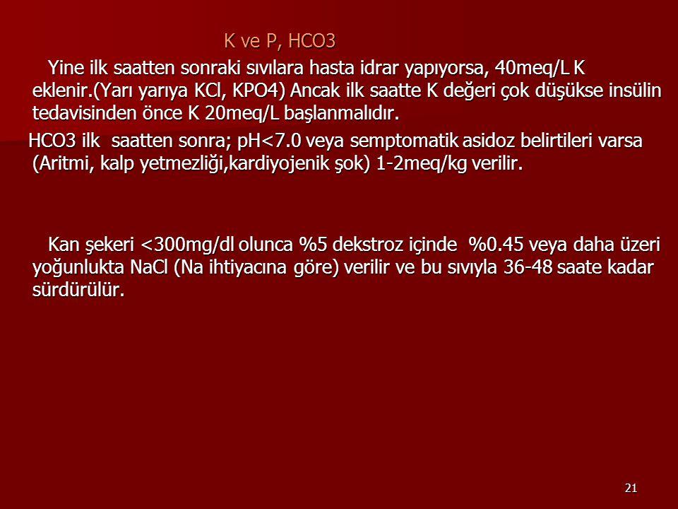 21 K ve P, HCO3 K ve P, HCO3 Yine ilk saatten sonraki sıvılara hasta idrar yapıyorsa, 40meq/L K eklenir.(Yarı yarıya KCl, KPO4) Ancak ilk saatte K değeri çok düşükse insülin tedavisinden önce K 20meq/L başlanmalıdır.