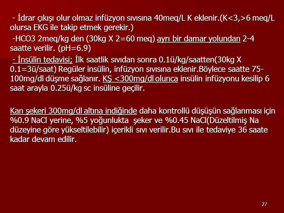 27 - İdrar çıkışı olur olmaz infüzyon sıvısına 40meq/L K eklenir.(K 6 meq/L olursa EKG ile takip etmek gerekir.) - İdrar çıkışı olur olmaz infüzyon sıvısına 40meq/L K eklenir.(K 6 meq/L olursa EKG ile takip etmek gerekir.) -HCO3 2meq/kg den (30kg X 2=60 meq) ayrı bir damar yolundan 2-4 saatte verilir.