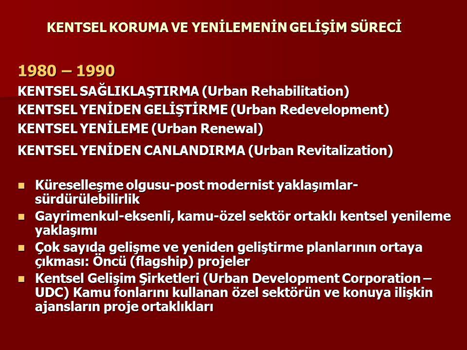 KENTSEL KORUMA VE YENİLEMENİN GELİŞİM SÜRECİ 1980 – 1990 KENTSEL SAĞLIKLAŞTIRMA (Urban Rehabilitation) KENTSEL YENİDEN GELİŞTİRME (Urban Redevelopment