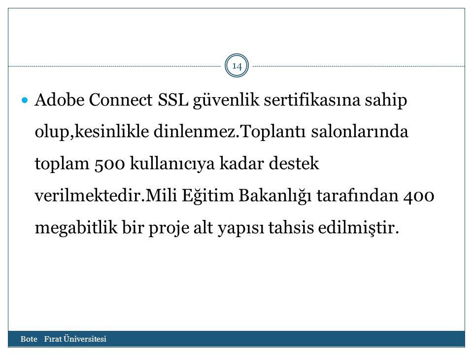 Bote Fırat Üniversitesi 14 Adobe Connect SSL güvenlik sertifikasına sahip olup,kesinlikle dinlenmez.Toplantı salonlarında toplam 500 kullanıcıya kadar