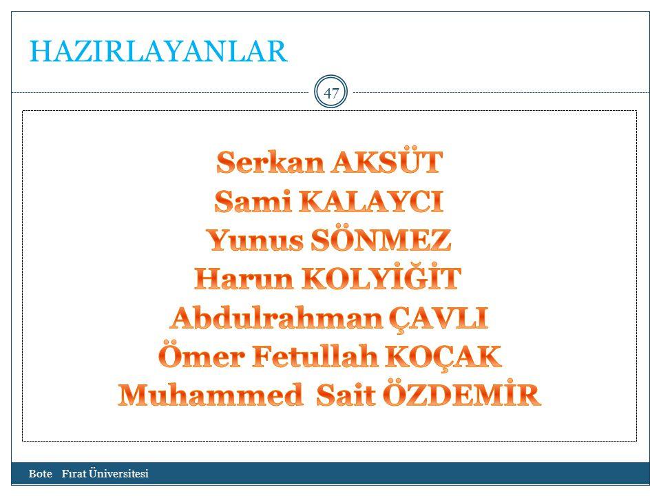 HAZIRLAYANLAR Bote Fırat Üniversitesi 47