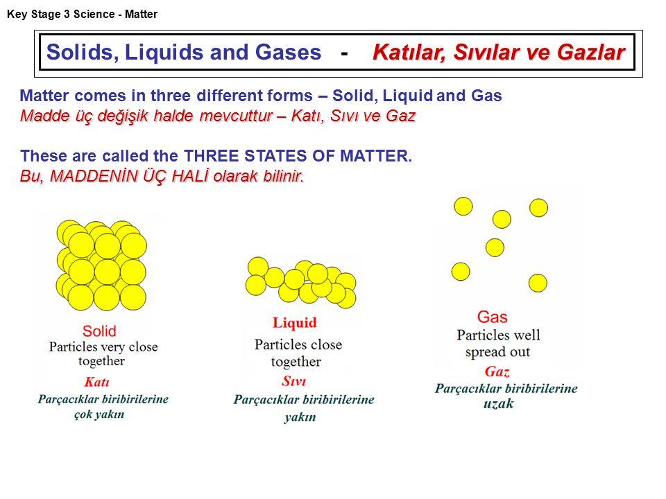 Key Stage 3 Science - Matter Katılar, Sıvılar ve Gazlar Solids, Liquids and Gases - Katılar, Sıvılar ve Gazlar Matter comes in three different forms –