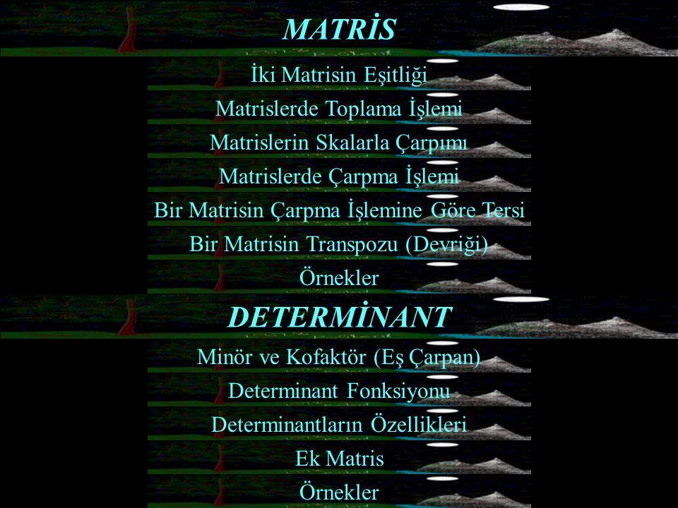 DETERMİNANT MATRİS İki Matrisin Eşitliği Bir Matrisin Çarpma İşlemine Göre Tersi Determinant Fonksiyonu Matrislerin Skalarla Çarpımı Matrislerde Çarpm