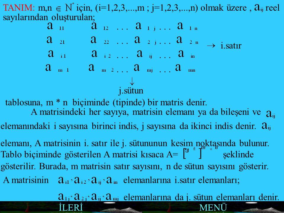 TANIM: m,niçin, (i=1,2,3,...,m ; j=1,2,3,...,n) olmak üzere,reel sayılarından oluşturulan; i.satır j.sütun tablosuna, m * n biçiminde (tipinde) bir ma