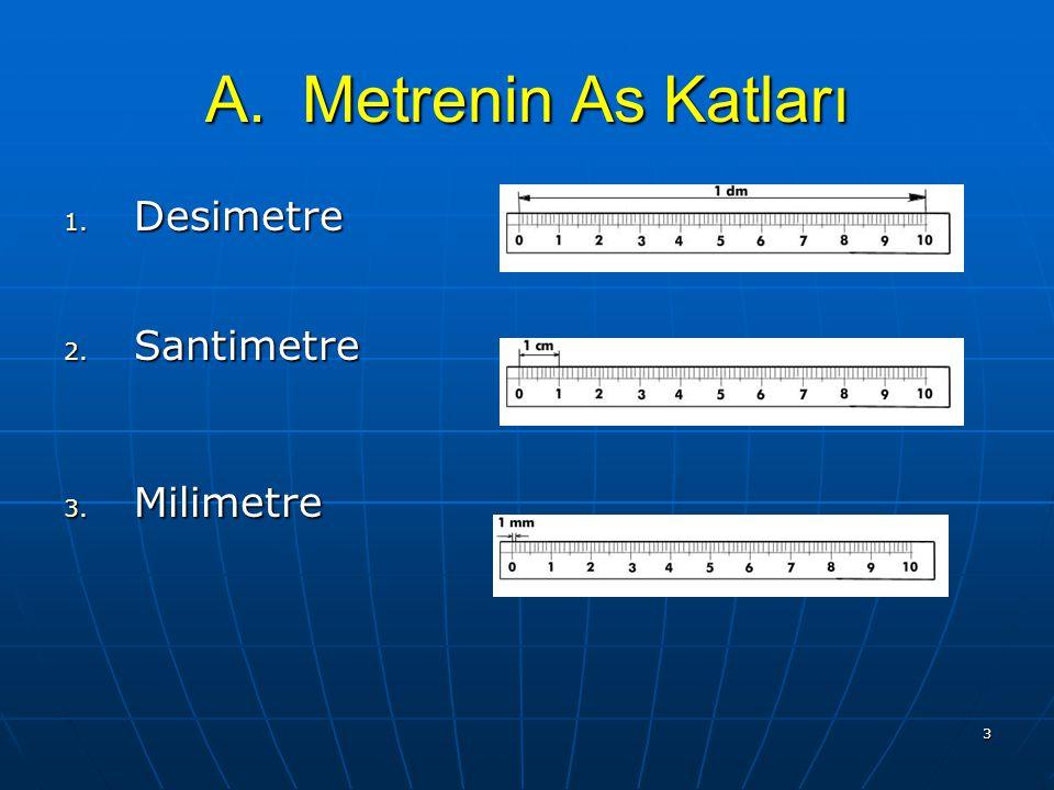 2 Metre Uzunluk ölçüsü temel birimi metredir. Kısaca m ile gösterilir. Uzunluk ölçüsü temel birimi metredir. Kısaca m ile gösterilir.