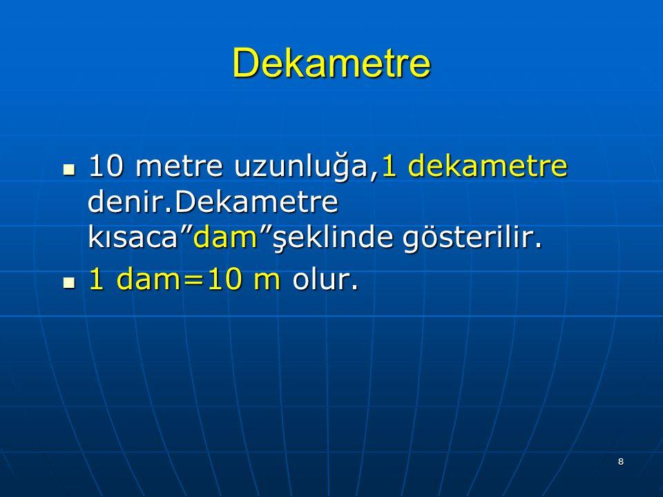 7 1.Metrenin Katları Metreden büyük olan uzunluk ölçüsü. Metreden büyük olan uzunluk ölçüsü. Birimlerine, metrenin katları denir. 1. Dekametre. 2. Hek