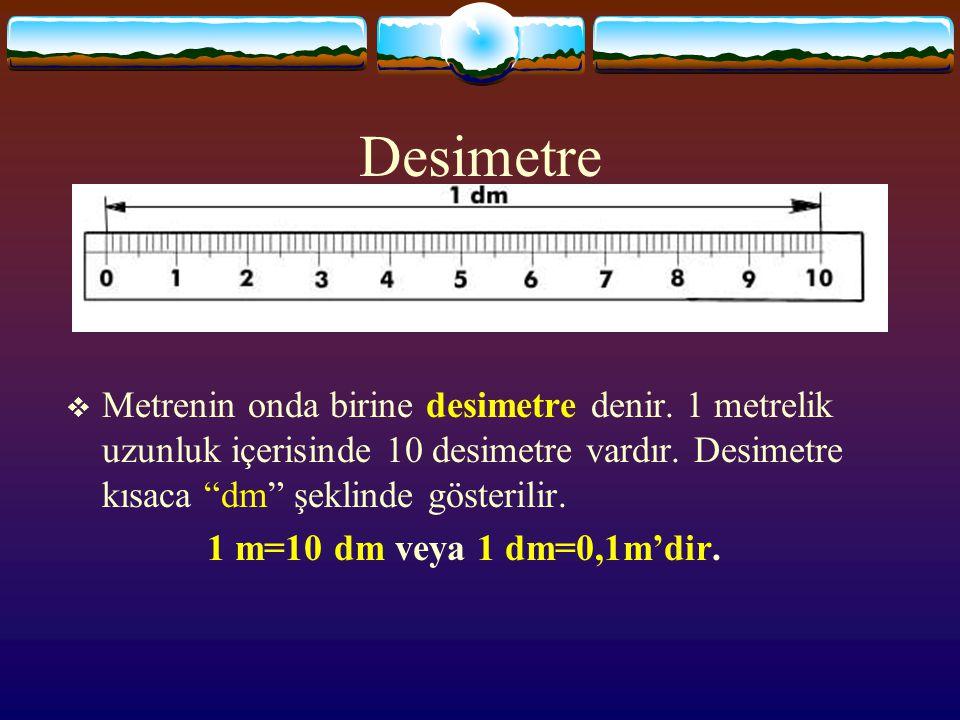 Desimetre  Metrenin onda birine desimetre denir.