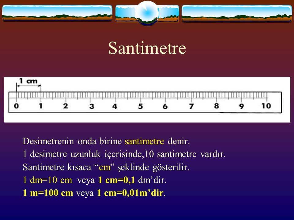 """Desimetre  Metrenin onda birine desimetre denir. 1 metrelik uzunluk içerisinde 10 desimetre vardır. Desimetre kısaca """"dm"""" şeklinde gösterilir. 1 m=10"""