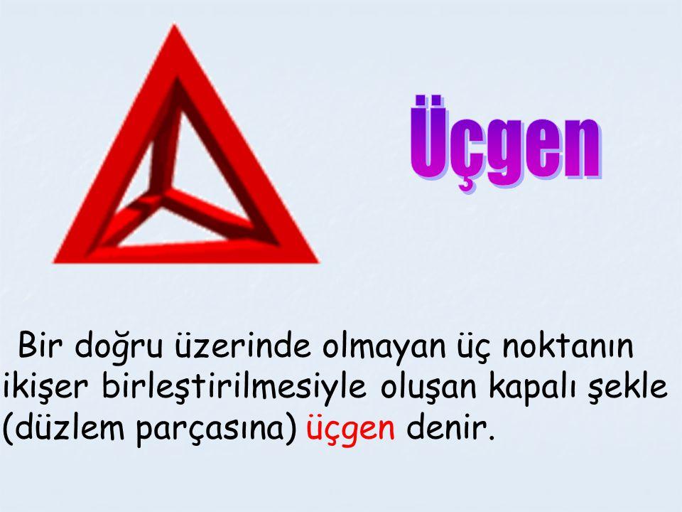 Bir doğru üzerinde olmayan üç noktanın ikişer birleştirilmesiyle oluşan kapalı şekle (düzlem parçasına) üçgen denir.