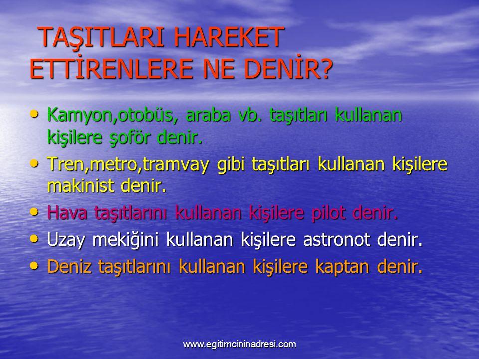 HAVA TAŞITLARI Havada giden taşıtlara, hava taşıtları denir. Havada giden taşıtlara, hava taşıtları denir. www.egitimcininadresi.com