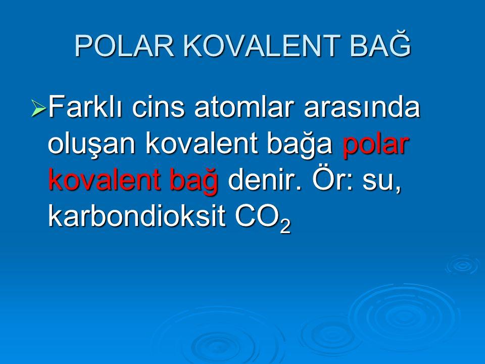 POLAR KOVALENT BAĞ FFFFarklı cins atomlar arasında oluşan kovalent bağa polar kovalent bağ denir. Ör: su, karbondioksit CO2