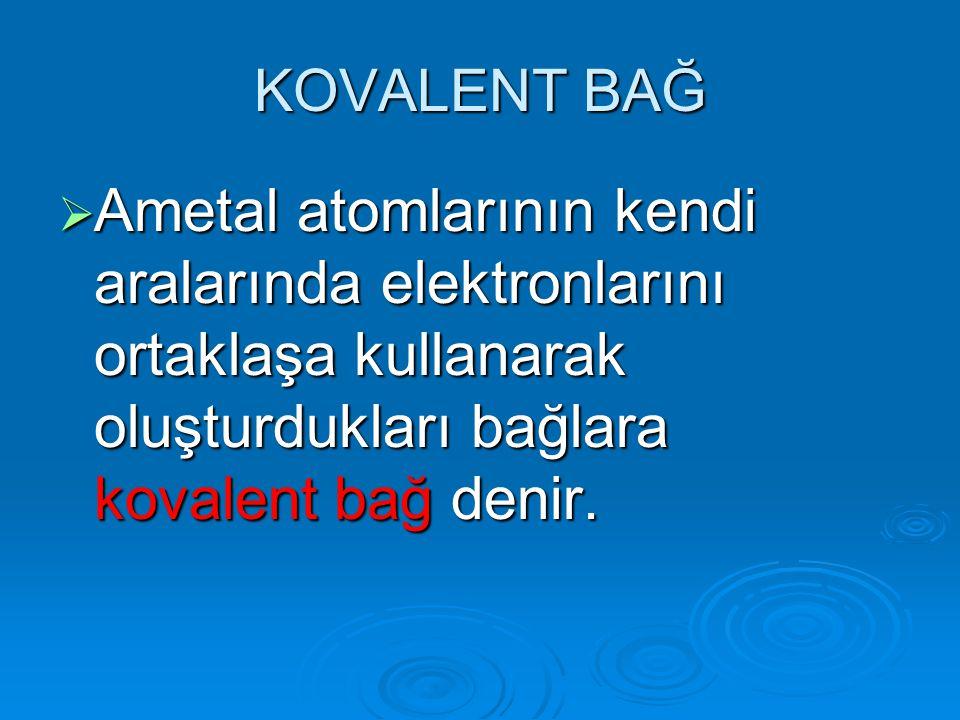KOVALENT BAĞ AAAAmetal atomlarının kendi aralarında elektronlarını ortaklaşa kullanarak oluşturdukları bağlara kovalent bağ denir.