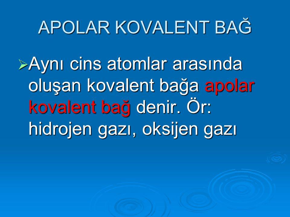 APOLAR KOVALENT BAĞ AAAAynı cins atomlar arasında oluşan kovalent bağa apolar kovalent bağ denir. Ör: hidrojen gazı, oksijen gazı