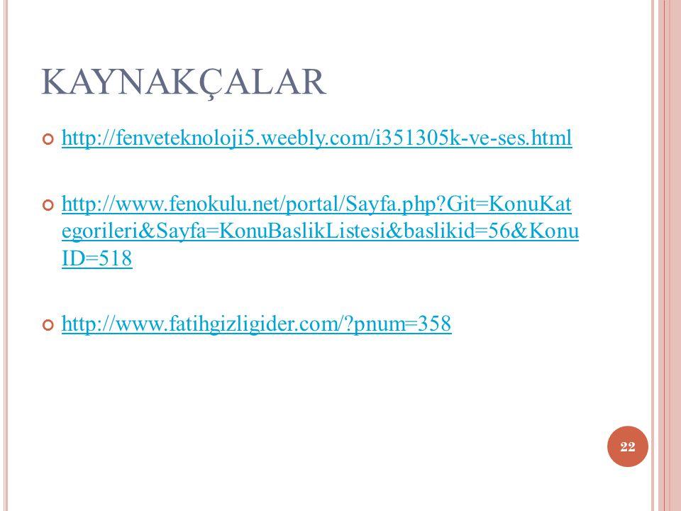 KAYNAKÇALAR http://fenveteknoloji5.weebly.com/i351305k-ve-ses.html http://www.fenokulu.net/portal/Sayfa.php?Git=KonuKat egorileri&Sayfa=KonuBaslikListesi&baslikid=56&Konu ID=518 http://www.fatihgizligider.com/?pnum=358 22